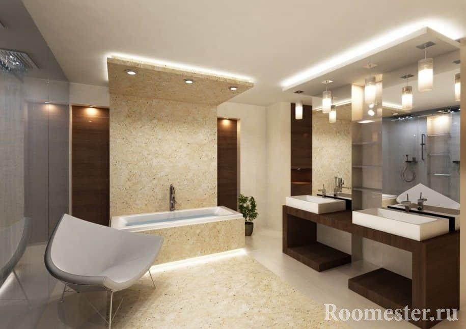 Сочетание камня и дерева в ванной