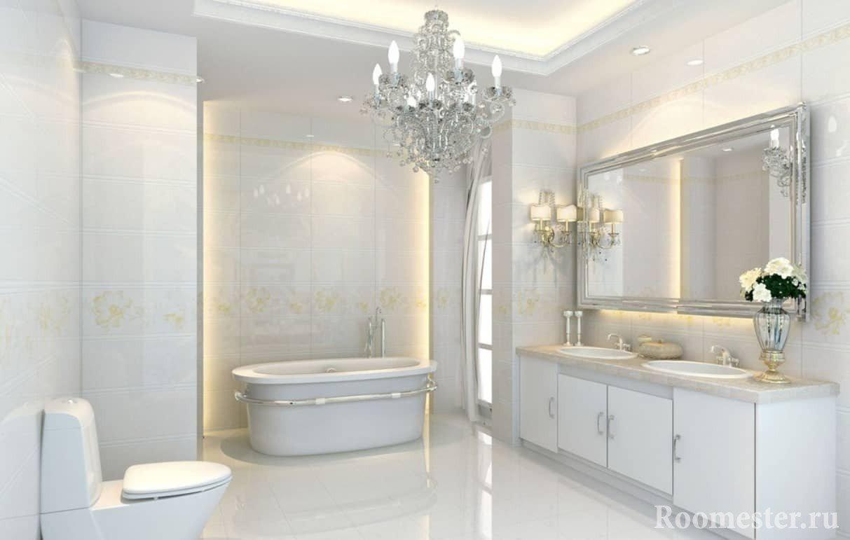 Дизайн ванной комнаты в белом цвете в стиле неоклассика