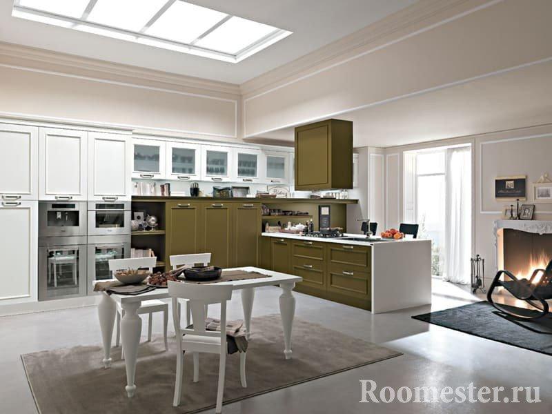Кухня-столовая совмещенная с гостиной