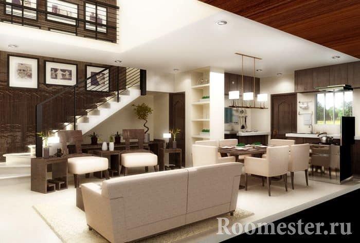 Гостиная в светло-коричневых цветах в стиле контемпорари