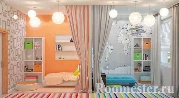 Разделенная перегородкой и цветом детская комната для двоих разнополых детей