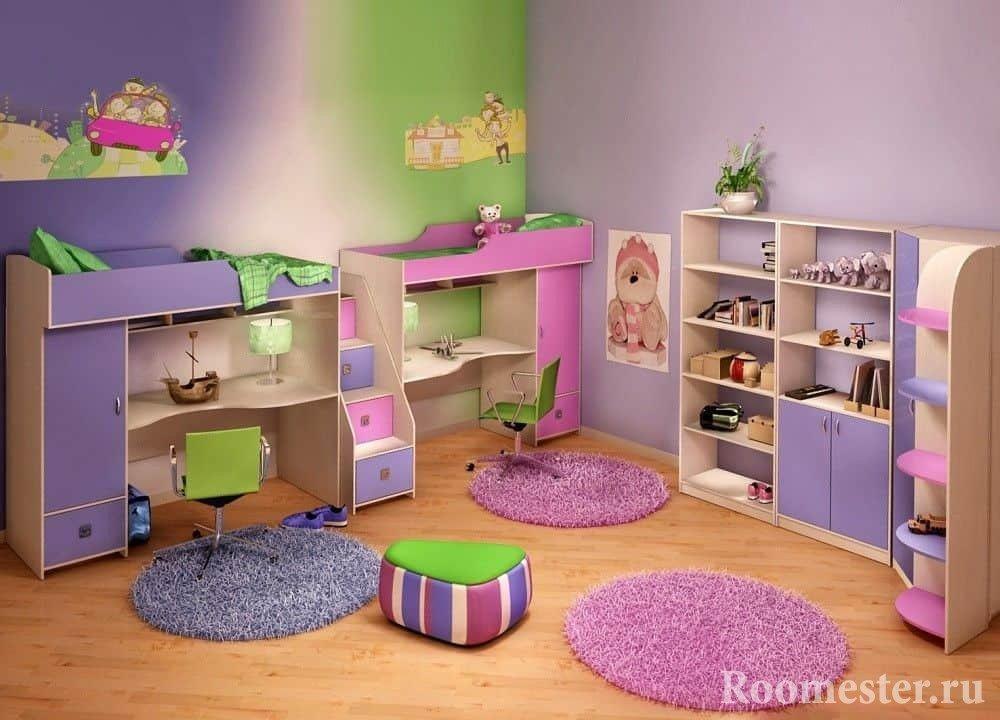 Зонирование спальных и рабочих мест для разнополых детей