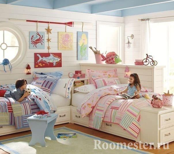 Маленькая детская комната для двух разнополых детей