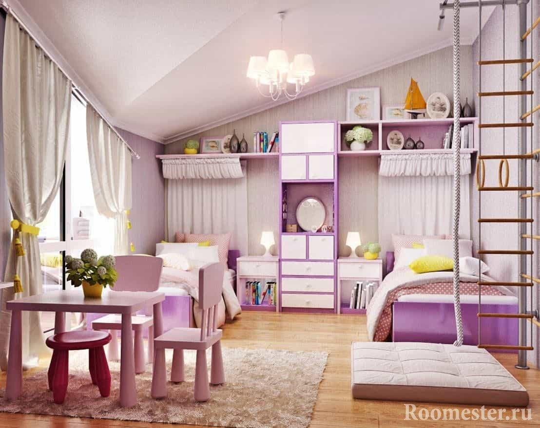 Детская комната для двух девочек со спортивным уголком
