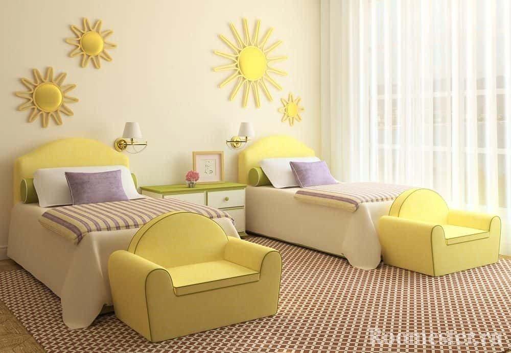 Яркий детский стиль в оформлении комнаты для двух девочек