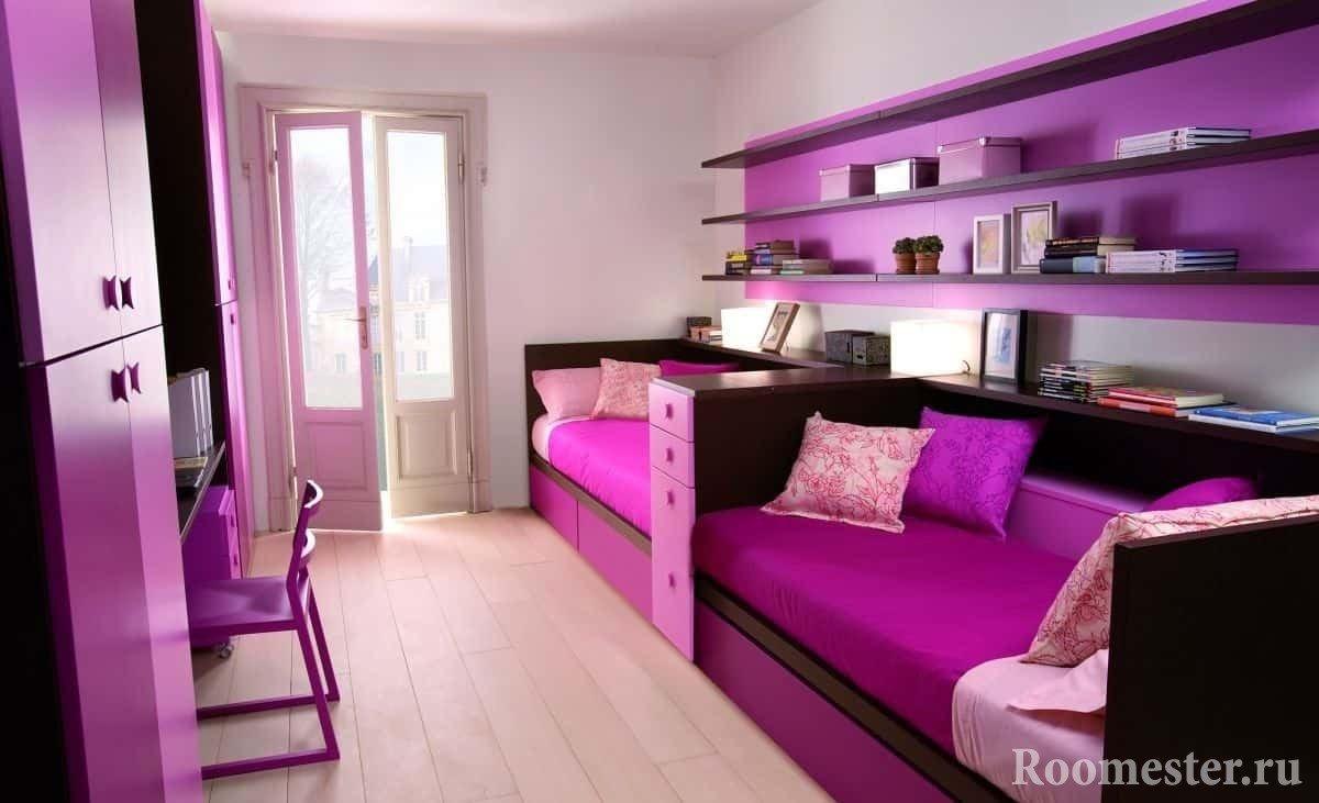 Сочный цвет мебели для девчачей спальни