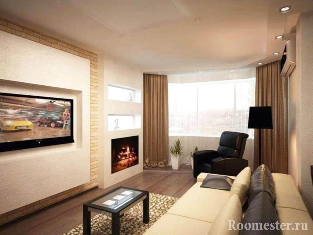 Дизайн гостиной с кожаной мебелью и камином