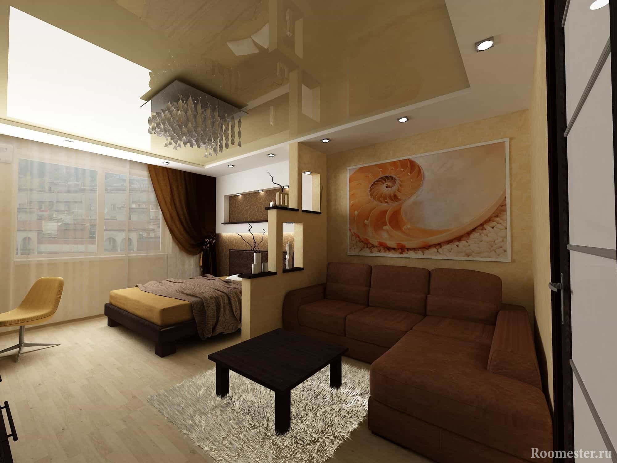 Design living room 18 square meters. m. combined with bedroom