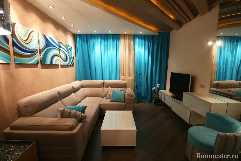 Компактная расстановка мебели в гостиной