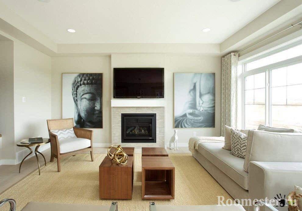 Белый матовый потолок расширит комнату