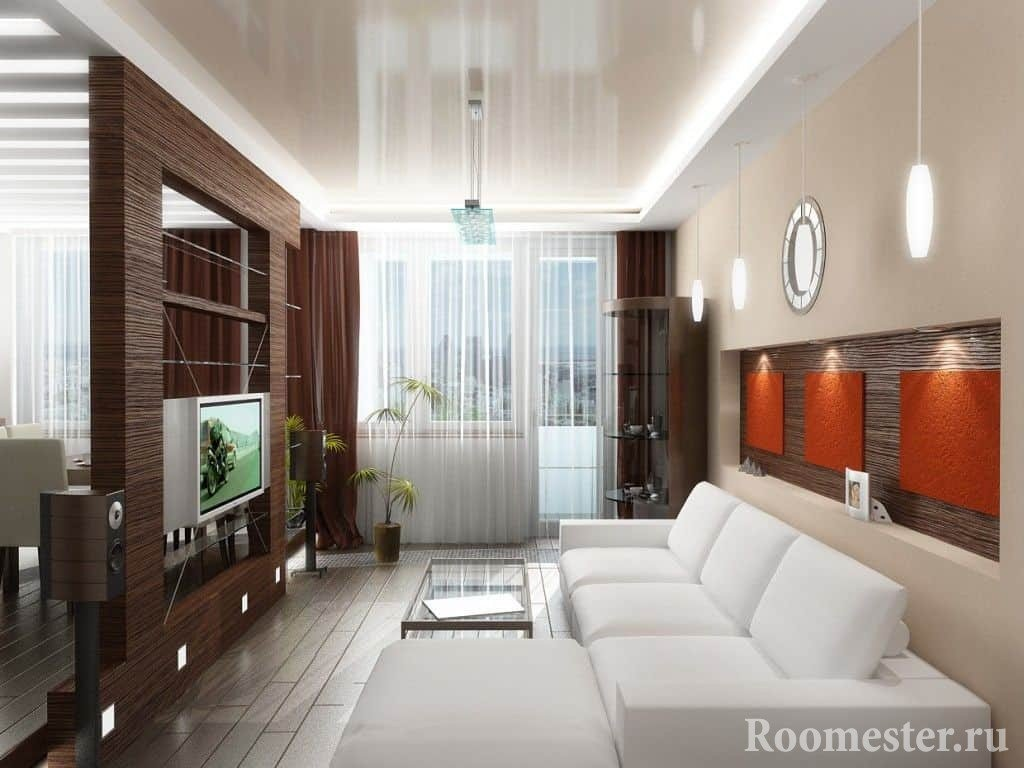 Design of living room combined with kitchen
