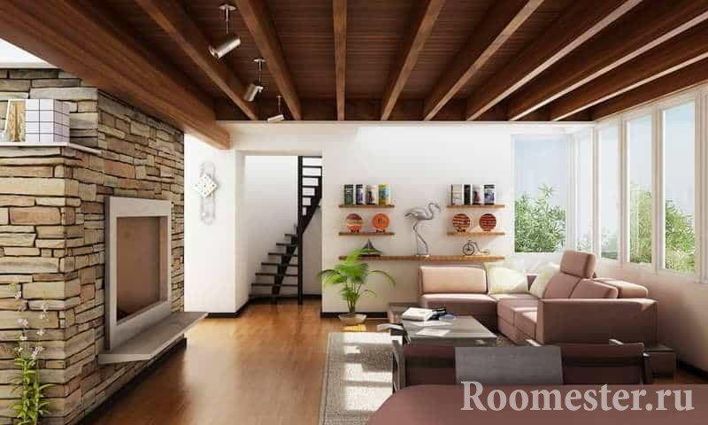 Дизайн гостиной в деревянном доме с камином и отделка камнем