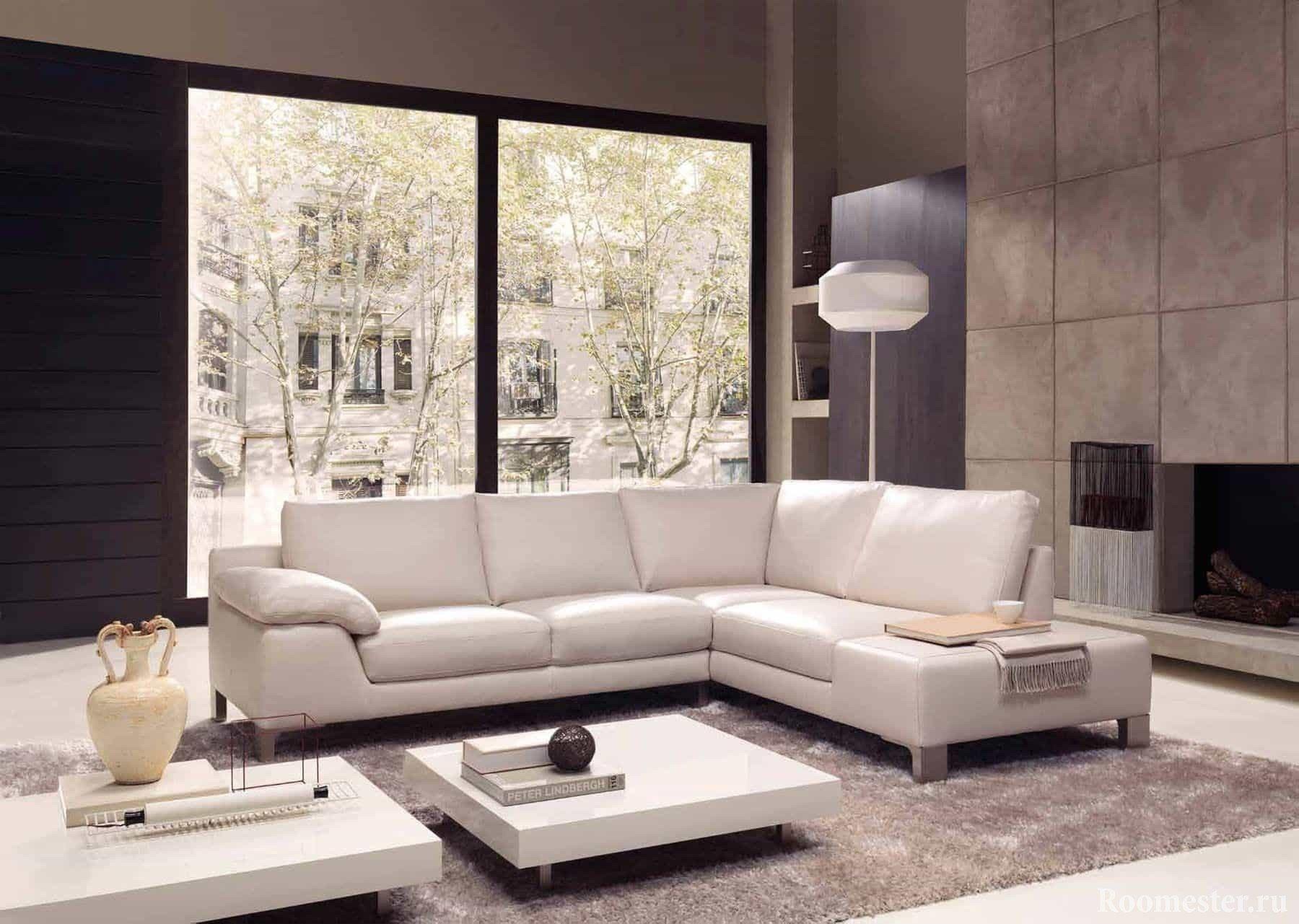 Дизайн гостиной в современном стиле с камином