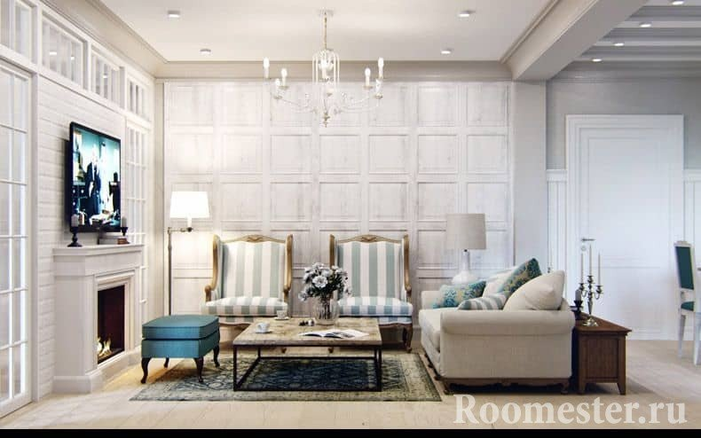 Мебель в бежевых тонах в гостиной