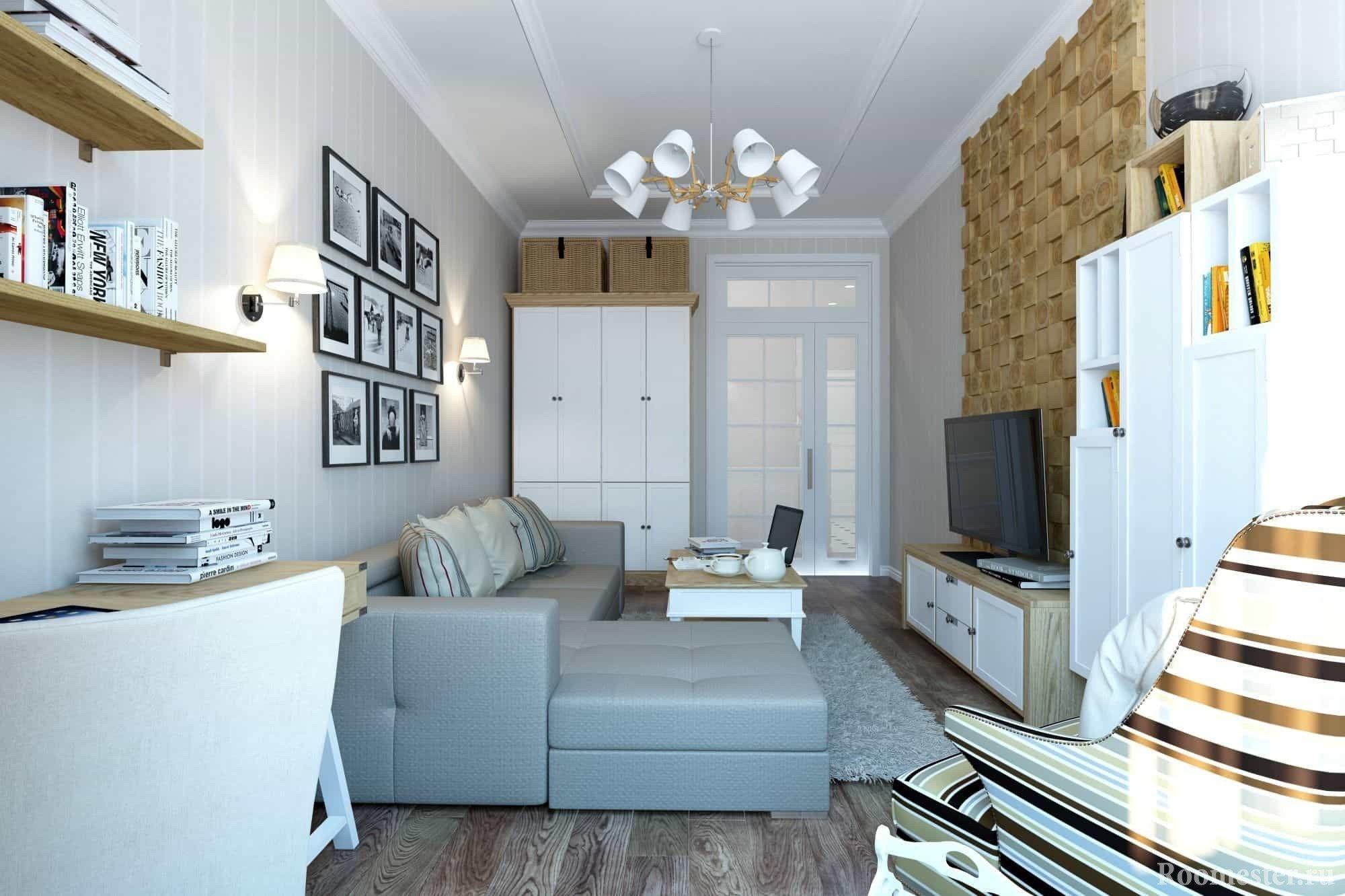 Полосочка в обивке мебели в дизайне гостиной комнаты