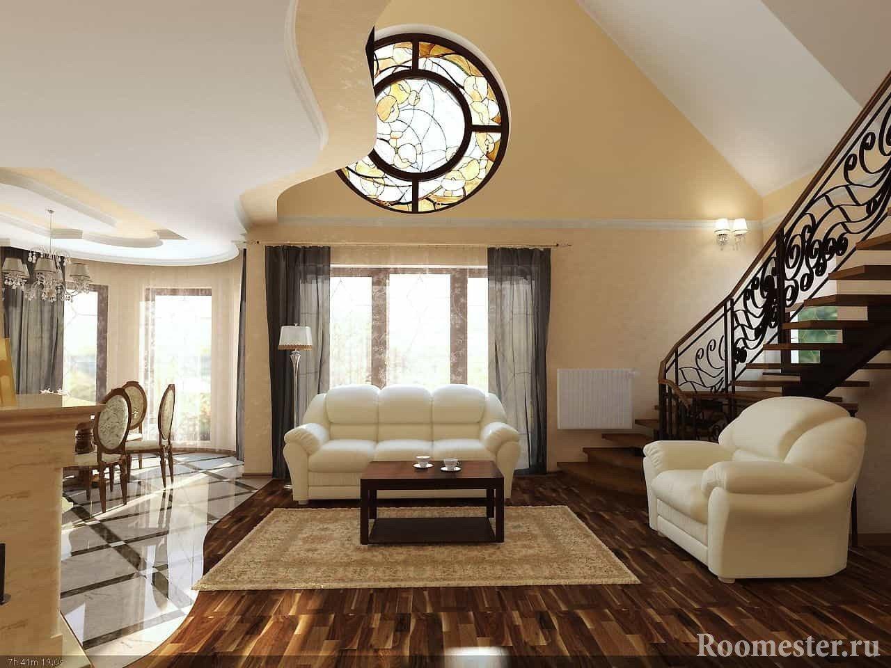 Гостиная в доме с лестницей
