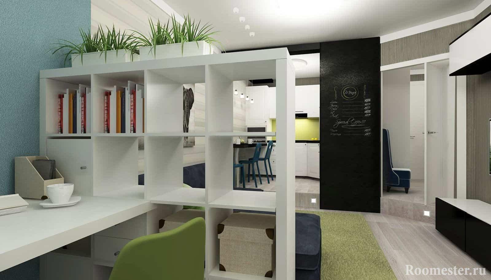 Все что нужно в дизайне интерьера маленькой квартиры, кухня, гостиная и кабинет