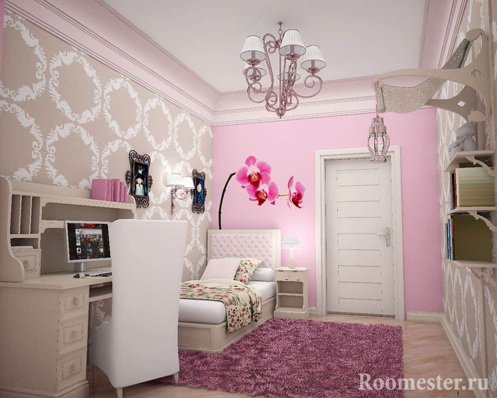 Pink is almost always present in the teenage girl's room.