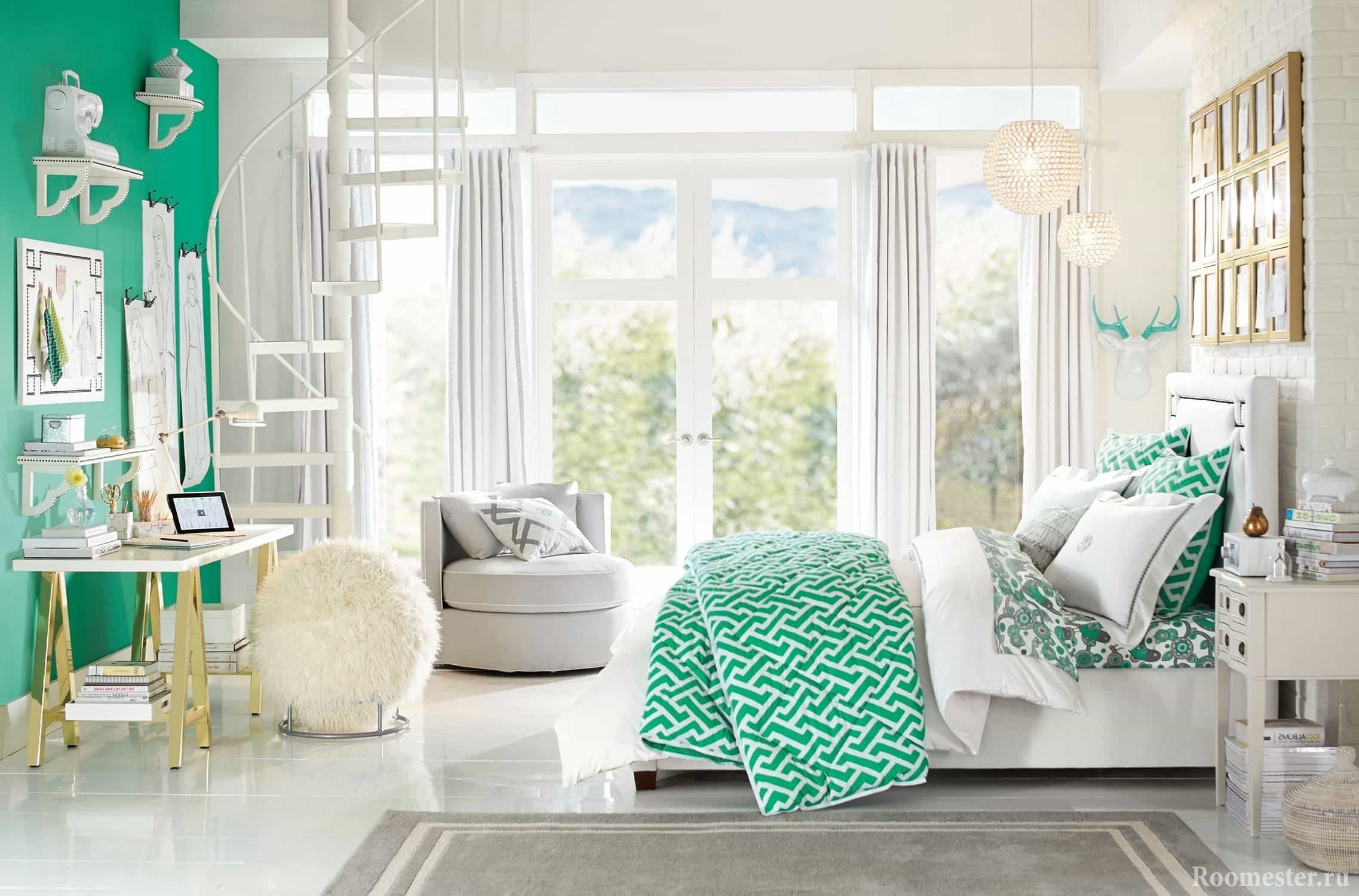 The combination of white and greenish in the design of the room of a teenage girl