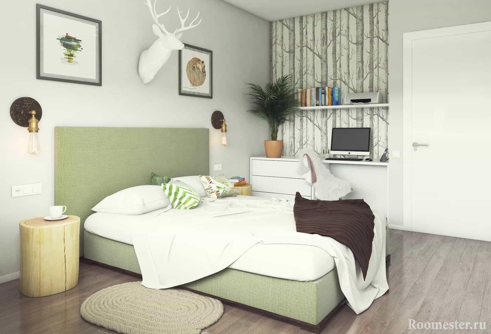 Нежный дизайн спальни 13 кв м