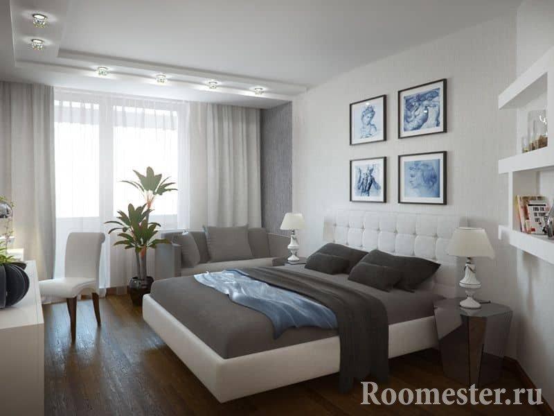 Спальня 13 квадратов, белый спальный гарнитур
