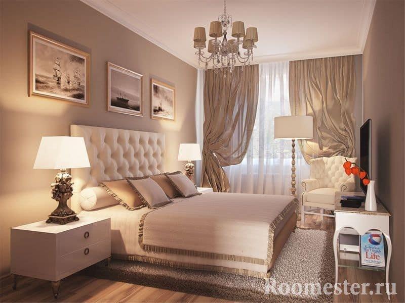 Классический дизайн спальни 13 кв м