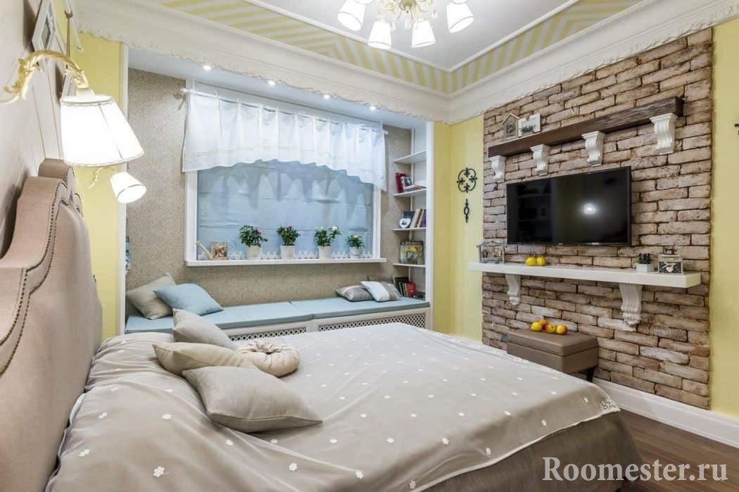 Стена из кирпича в дизайне спальни 13 кв м