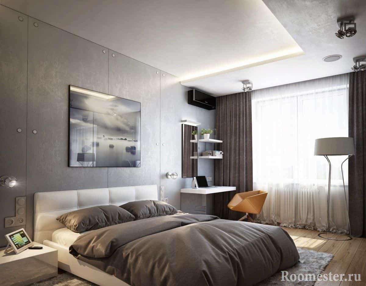 Дизайн спальни 13 кв. м - обустройство интерьера небольшой ... Небольшой Дом в Стиле Хай Тек