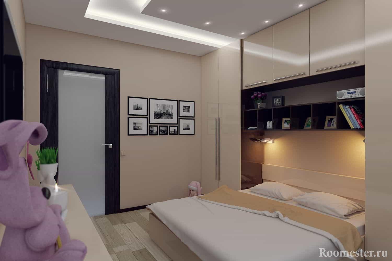Дизайн спальни в стиле модерн 13 кв м