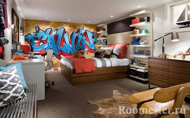Спальня для двух мальчиков с двухспальной кроватью