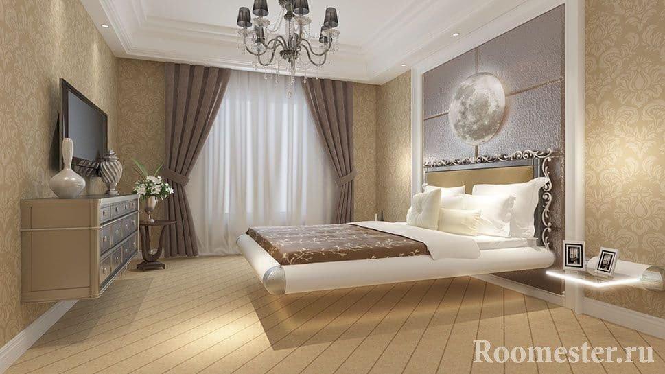 Парящая кровать над полом в спальне в классическом стиле