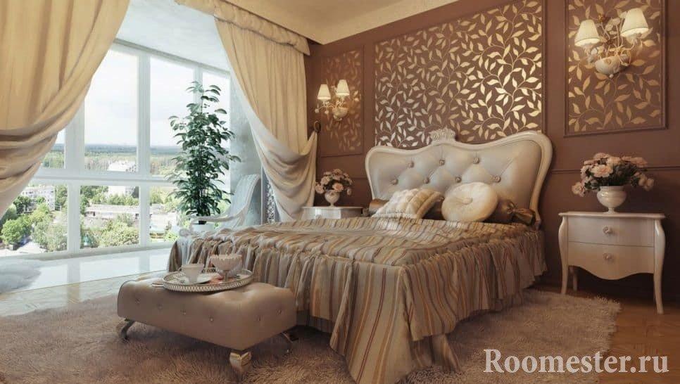 Освещение спальни в классическом стиле разделено на естественное и искусственное
