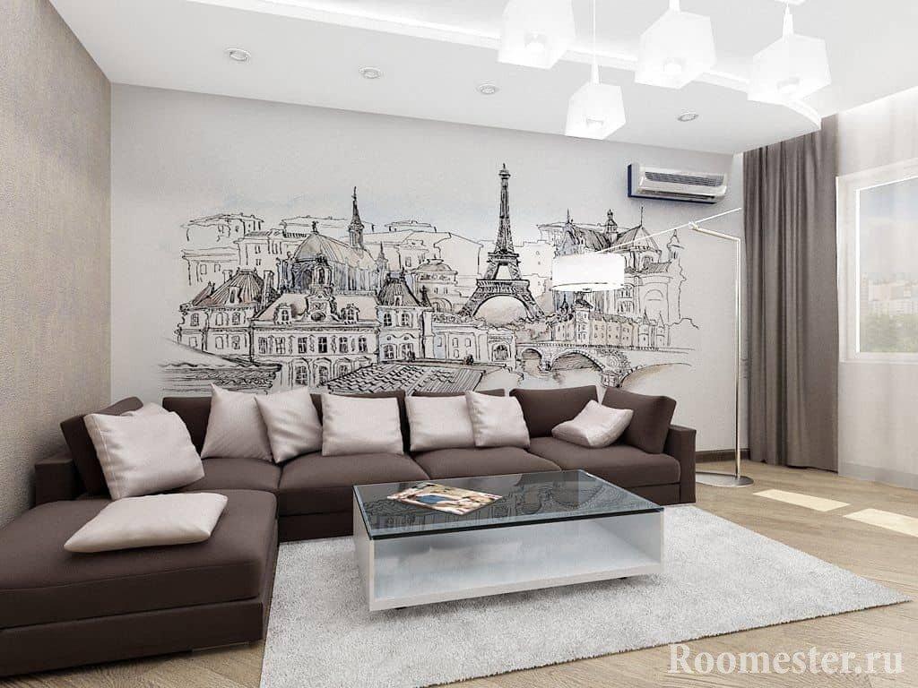 Дизайн гостиной с отделкой стены фотообоями