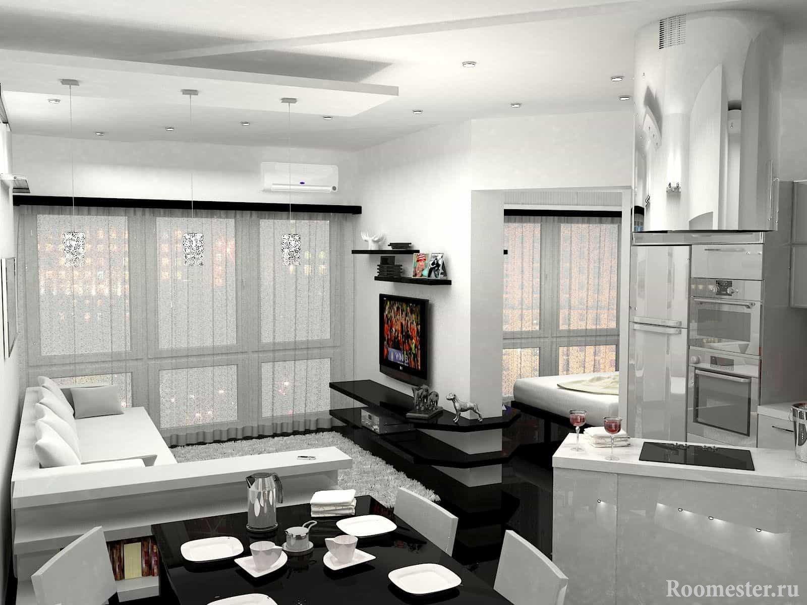 Кухня и гостиная совмещенные в студию