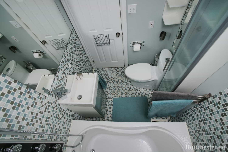 Дизайн ванной комнаты, компактное расположение в хрущевке