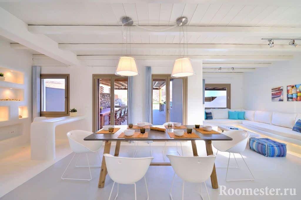 Гостиная и столовая в греческом стиле