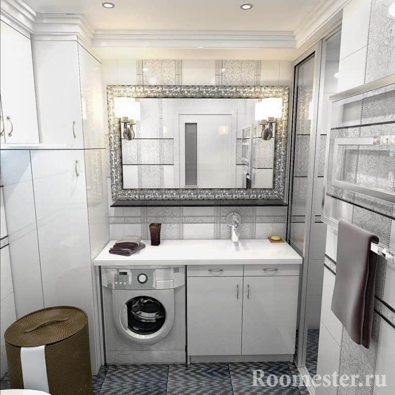 Ванная комната совмещенная с туалетом и стиральная машина под раковиной