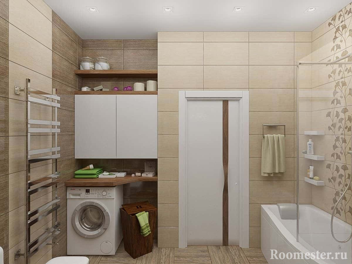 Bathroom combined with toilet and washing machine