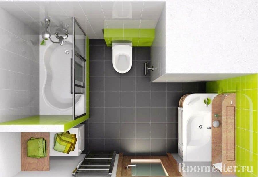 Дизайн-проект ванной совмещенной с туалетом