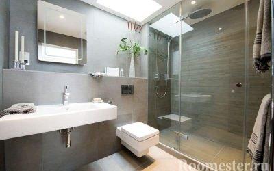 Интерьер современной ванной комнаты совмещенной с туалетом +20 фото