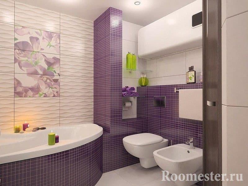 Пример дизайна ванной совмещенной с туалетом