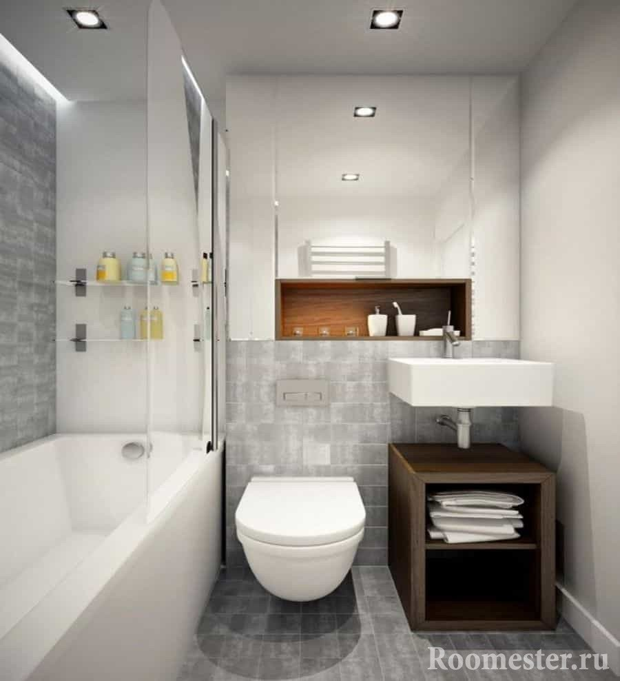 The design of a small bathroom with toilet