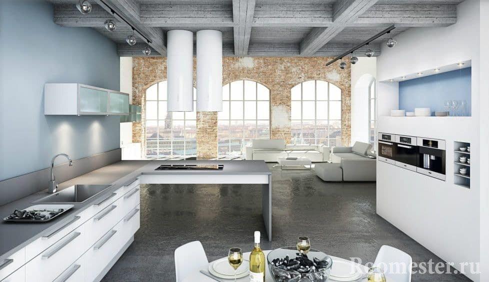 Пол под бетон в кухне в скандинавском стиле