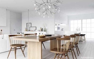 Кухня в скандинавском стиле: холодный снег и тепло очага