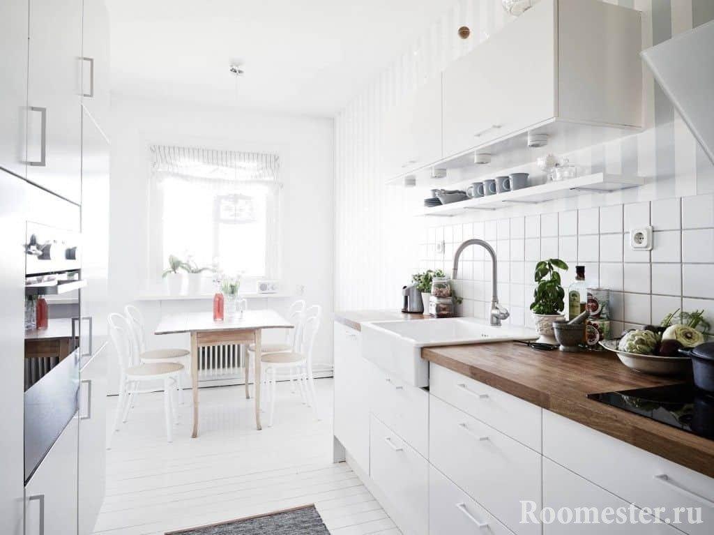 Отделка фартука кафельной плиткой в кухне скандинавского стиля