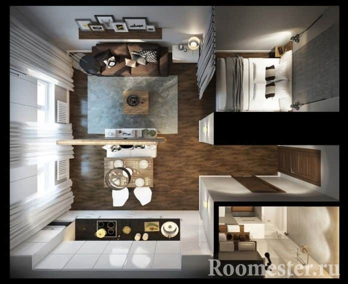 Example of planning a one-room apartment in a modern design