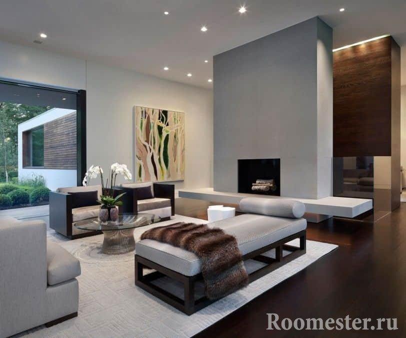 Гостиная комната в стиле современная классика с камином