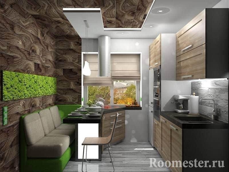 Пример сочетания рабочей поверхности с обеденным столом на кухне в эко стиле