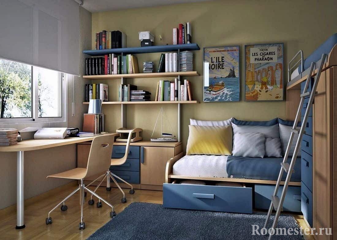 Детская комната для мальчиков с угловой двух ярусной кроватью и рабочим местом
