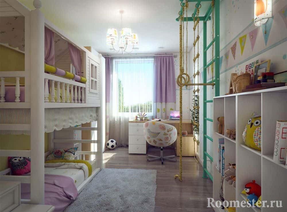 Детская комната в хрущевке с двух ярусной кроватью и шведской стенкой